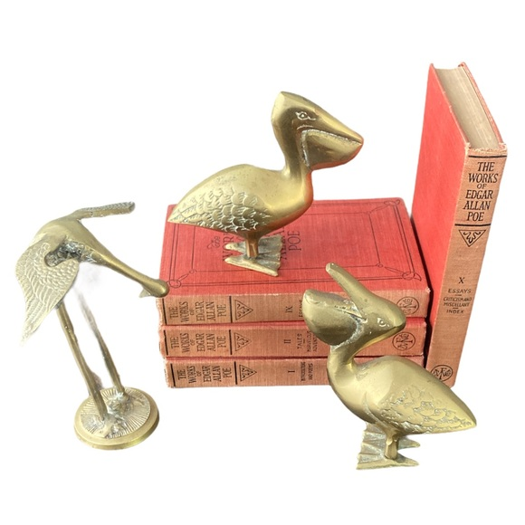 Lot of 3 Pelican and Indian Bird Brass Decor